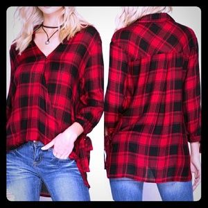She + Sky Red and Black Plaid Blouse. NWT
